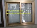 Hoja de fluorocarbono revestimiento de aluminio ventanas correderas, ventanas de aluminio color bronce deslizante para Villa Casa