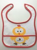 Le produit d'OEM d'usine a personnalisé les bavoirs mous estampés par dessin animé de bébé bleu du Jersey de coton d'ours de logo