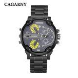 검정과 은 색깔에 있는 남자 스테인리스 Bracelete 시계를 위한 Cagarny 다기능 손목 시계