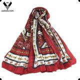 Le donne comerciano la sciarpa all'ingrosso tribale di seta di stampa multicolore del reticolo di modo