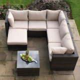 Jogo branco do sofá do coxim da mobília de alumínio ao ar livre do Rattan do lazer do jardim