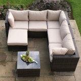 Im Freien Garten-Freizeit-Rattan-Aluminiummöbel-weißes Kissen-Sofa-Set