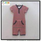 短い袖の赤ん坊の服装の縞の印刷の赤ん坊のロンパース