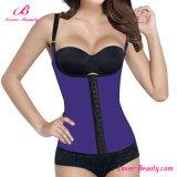 Látex púrpura liso caliente del chaleco más el corsé del entrenamiento de la cintura de la talla