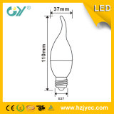 Luz de la vela del LED Cl37 E14 / E27 base 3000k luz caliente