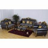 Sofà di cuoio con il blocco per grafici del sofà e la Tabella di legno del lato (929F)