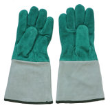 Les gants de la soudeuse protectrice de cuir fendu de peau de vache de pente d'ab