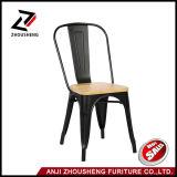 2016 sillas laterales de cena elegantes industriales amontonables del café de los bistros del nuevo metal de Adeco con el asiento de madera