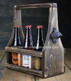 Antiguidade feita sob encomenda do logotipo portador de madeira da cerveja de 6 blocos com abridor