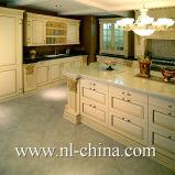 Moderner reiner weißer Flachgehäuse-festes Holz-Küche-Schrank