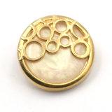 Bouton de partie lisse en alliage de zinc fixé par perle en métal pour le pardessus