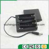 4AA Batteriehalterung mit Gleichstrom-Stecker-Leitungen, Deckel und Schalter