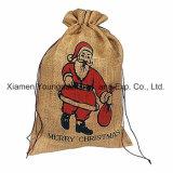 Персонализированные оптовой продажей напечатанные таможней большие мешки Tote рождества мешковины джута