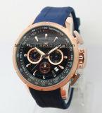 Reloj Chrono del deporte de los hombres de la goma de los relojes de Mens de la cara grande de lujo de la alineada