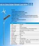 60W tutto in un sistema dell'indicatore luminoso di via del vento solare della batteria di litio di disegno