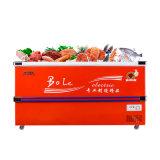 Compra inferior profunda do congelador do refrigerador da porta deslizante com canto inoxidável