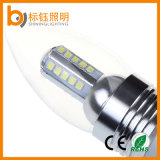bulbo interno 450lm do candelabro do diodo emissor de luz da lâmpada desobstruída da iluminação da luz da vela 5W