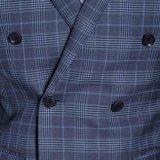 Breasted doble al por mayor que ajusta el juego de dos piezas de la tela escocesa azul