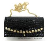 Il colore nero di modo lucido imprime Wallet dell'unità di elaborazione della signora con la catena per la spalla