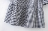 Vestito allentato dal plaid del manicotto nero rosso del chiarore di bianco di mini vestito