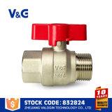 Válvula de cobre amarillo del agua con la maneta de aluminio de la mariposa (VG10.99761)