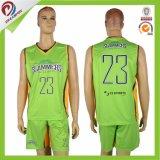 Disegno stabilito sublimato uomo verde scuro su ordinazione della squadra uniforme di pallacanestro