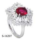순은 칵테일 반지 분홍색 방석 커트 CZ 반지
