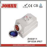 Soquete IP67 industrial com interruptores e bloqueio mecânico