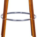 De okkernoot Gefineerde Ring Barstool van het Chroom Bentwood
