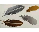 Las plumas de oro de moda impermeabilizan etiquetas engomadas temporales del tatuaje