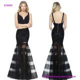 Populäres Nixe-Abschlussball-Kleid mit V-Stutzen Mieder und Striped Fußleiste