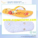 Semelle intérieure en EVA imprimée en cristal de PVC supérieure Unisex Mans Women Flip Flops Sandales de plage Chaussons de bain