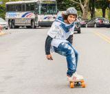 Скейтборд Longboard канадского клена колеса PU деревянный электрический