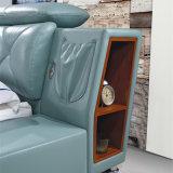 침실 사용 (FB8151)를 위한 녹색 가죽 침대