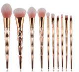 комплект щетки пластичной ручки плакировкой золота 10PCS Rose косметический