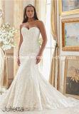 O bordado de Applique elegante Mori do laço 2016 Lee mais o tamanho ata acima a sereia do trem da varredura do comprimento do assoalho/o vestido de casamento traseiros vestido da trombeta (Dream-100084)