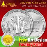 カスタム金属24kの純粋な金の記念品の硬貨。 中国の999純粋な銀貨か骨董品または金および銀カラー挑戦硬貨またはコピーの硬貨の工場または製造業者