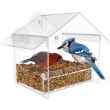Alimentador de pájaros acrílico claro, alimentadores de ventana de succión