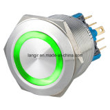 25mm Latching 2no2nc Waterproof Edelstahl Push Button Switch (Ring Illuminated)