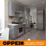 Cabina de cocina modular al por mayor de acrílico de madera gris brillante moderna (OP16-A01)