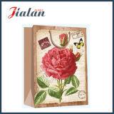 Lamellierter Ivory Papier-Retro Blumen-kaufengeschenk-Papiermattbeutel
