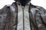 人はPlacket取り外し可能なHoody PUに革快適なジャケットを作る