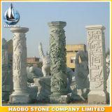 Colonnes de dragon découpées par main décorative en pierre de colonnes