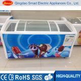 538Lはガラスドアのアイスクリームの表示のための深い箱のフリーザーを曲げた