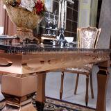 Tabela superior de mármore da sala de visitas dos pés do aço inoxidável do ouro de Rosa