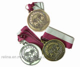 Zinc Alloy su ordinazione Polished Club Medal con Ribbon