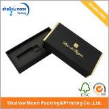 Caja de embalaje de papel negra de sellado caliente de la insignia (QY150002)