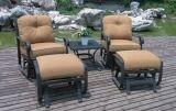 Jardim Lazer Elenco de alumínio Swivel & Glide Chat Group Set Móveis Mesa de chá Loveseat 4 pessoas Seating Country Club Set de cadeira Mesa de café Sofá e otomano