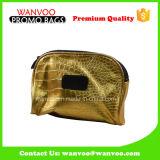Sacchetto cosmetico economico bello 2016 dell'unità di elaborazione di colore dell'oro mini con il marchio su ordinazione