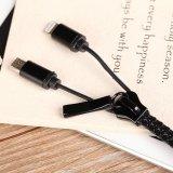 молния 8-Pin & микро- кабель USB застежки -молнии USB комбинированный для iPhone и Android